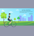 bright banner with happy biker active lifestyle vector image vector image