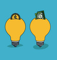 bulbs light in shape of money box with coin and vector image vector image