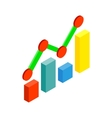 Business graph and chart icon isometric 3d style vector image