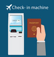 businessman using the check-in machine vector image vector image