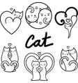 cats set black and white vector image