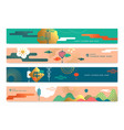 chinese new year ox abstract lantern landscape set vector image vector image