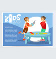 creative blue poster for kids club with happy boys vector image vector image
