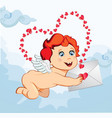 cute cartoon baby cupid holding love letter on vector image