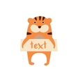 Cute tiger with a sign for text vector image vector image