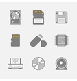 Data storage flat line icons vector image