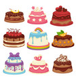 decorated sweet festival cakes collection isolated vector image vector image