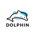 dolphin outline logo icon vector image vector image
