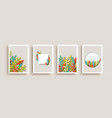 empty white paper frame collection with plant leaf vector image