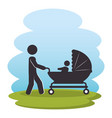 father with baby on park silhouette characters vector image vector image