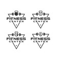 fitness center logo designs with triangle vector image vector image