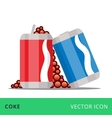 flat cans coke red and blue vector image