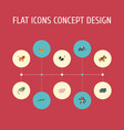 flat icons camelopard reptile chimpanzee and vector image