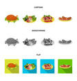 fried chicken vegetable salad shish kebab with vector image vector image