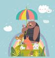 funny cartoon animals under umbrella happy summer vector image vector image