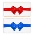 greeting cards wrapped with ribbon with red and vector image vector image