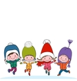 Group of four happy kids on white background vector image