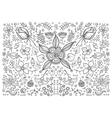 hand drawn vintage floral retro vector image vector image