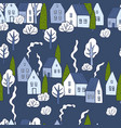 hand drawn winter houses with trees seamless vector image vector image