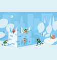 happy cute kids playing with snow fort castle vector image vector image
