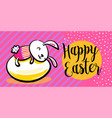 happy easter greeting banner background with cute vector image vector image