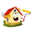 house is holding paint roller on white background vector image vector image