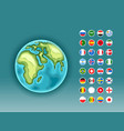 infographics earth map with flags of different vector image