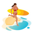 isometric surfer female surfing on summer vector image