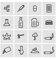 line drugs icon set vector image vector image