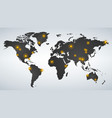 map world dotted with yellow hot spots vector image vector image