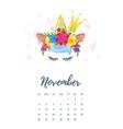 november 2018 year calendar vector image