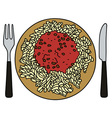Pasta on the plate vector image