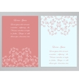 Pink and white flyers with ornate floral pattern vector image vector image