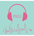 Pink headphones with cord in shape of cardiogram vector image vector image