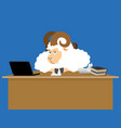 ram boss sheep businessman at desk farm office vector image