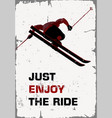 retro poster skier flying vector image vector image