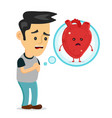 sad sick young man with heart disease problem vector image