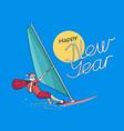 santa claus windsurfing vector image