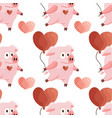 seamless pattern with cartoon flat pink pigs vector image vector image