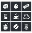 Set of Nuts Chocolate and Coffee Icons vector image
