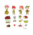 set with little cute gnomes forest elves