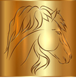 Sketch Horse on Golden Background vector image vector image