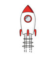 startup - line design rocket launch and smoke vector image