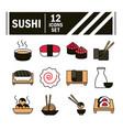 sushi oriental menu japanese food icons set line vector image vector image