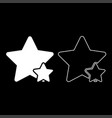 two star best of the best icon set white color vector image vector image