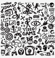 video games doodle set graphic symbols vector image