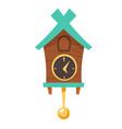 vintage wooden cuckoo clock with pendulum vector image