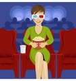 woman sitting with popcorn in movie theater vector image vector image