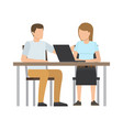 working people sitting table vector image vector image