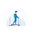 young business man riding on electric scooter vector image